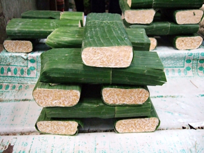 Tempeh as it sold in the Indonesian markets